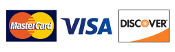 Image of accepted credit and debit card company logos: Mastercard, Visa, and Discover.